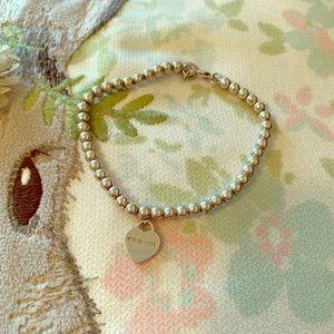 Tiffany mini heart tag beaded bracelet